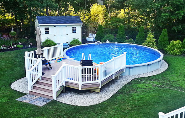 The perfect solution for your backyard above ground pools for Above ground pool decks for small yards