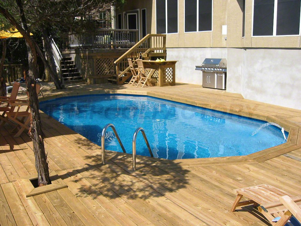 Pool deck ideas full deck the pool factory for Above ground pool decks nj