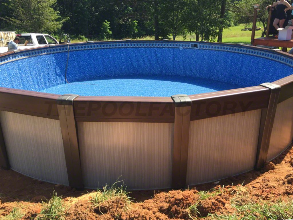 Above ground pool installation photos the pool factory - Cool above ground pools ...