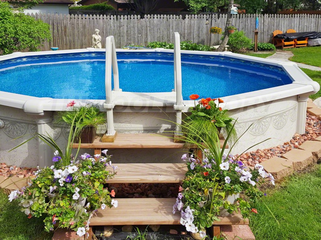 Above ground pool installation photos the pool factory - Pictures of above ground pools ...