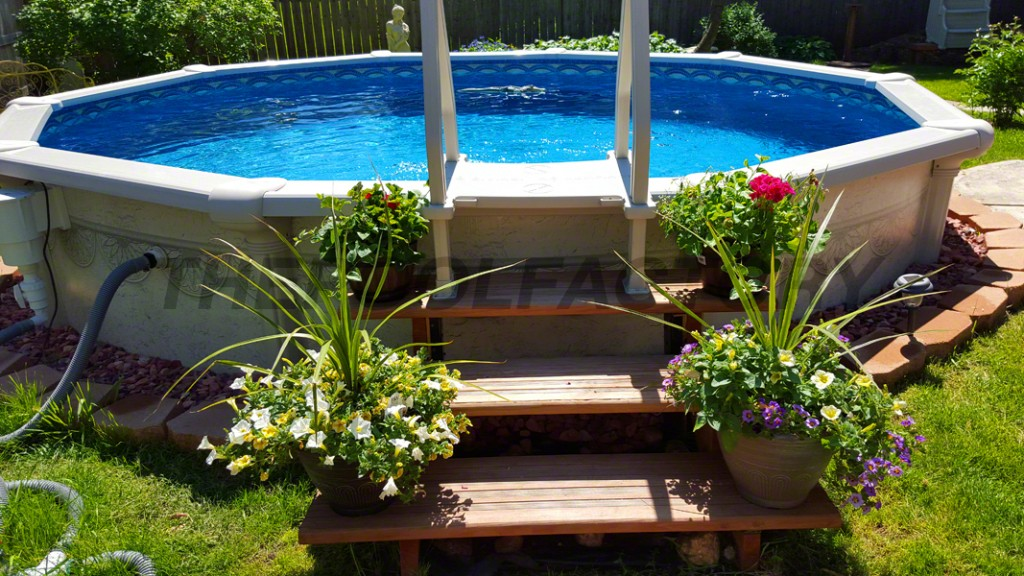 Landscaping around your above ground pool for Above ground pool designs