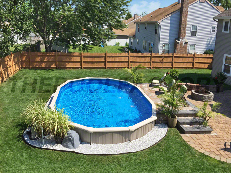 Landscaping around your above ground pool for Pool landscaping pictures