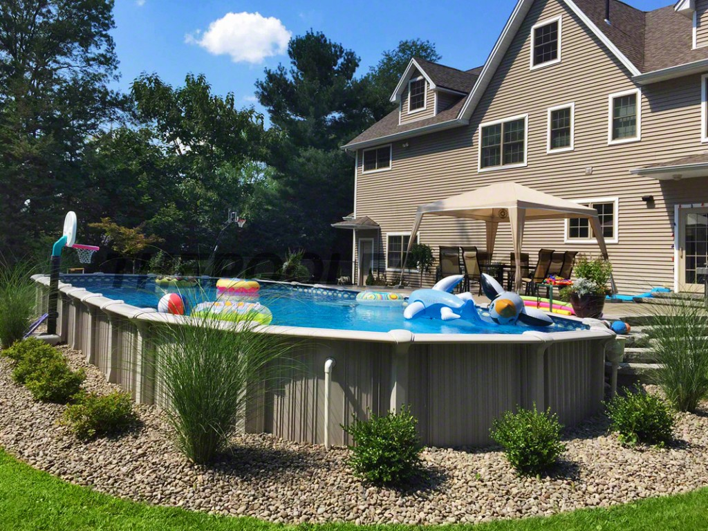Landscaping around your above ground pool for Above ground pool border ideas