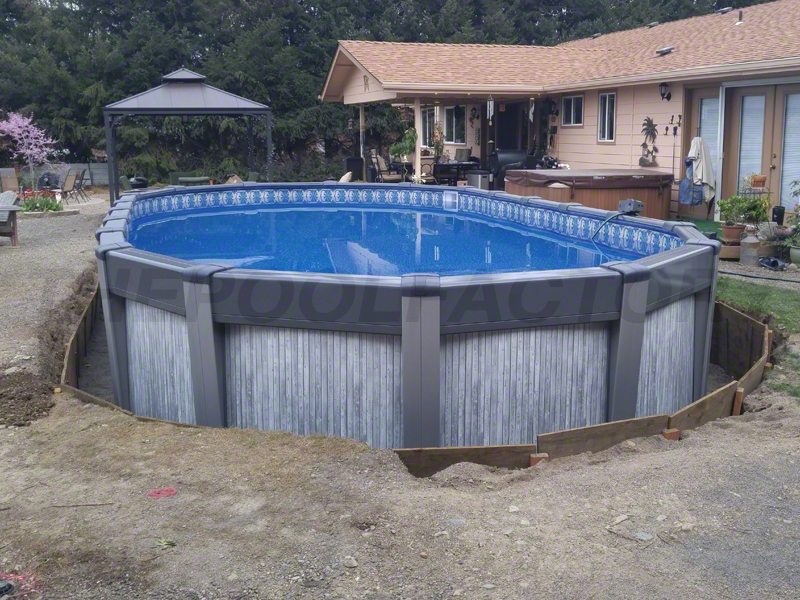 Above ground pool installation photos the pool factory for Top of the line above ground pools