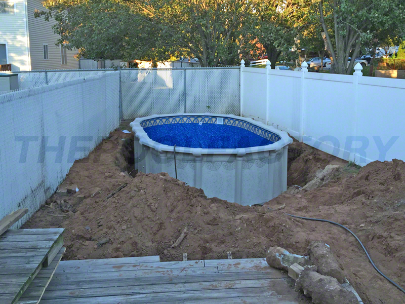 Above ground pool installation photos the pool factory for Swimming pool installation cost