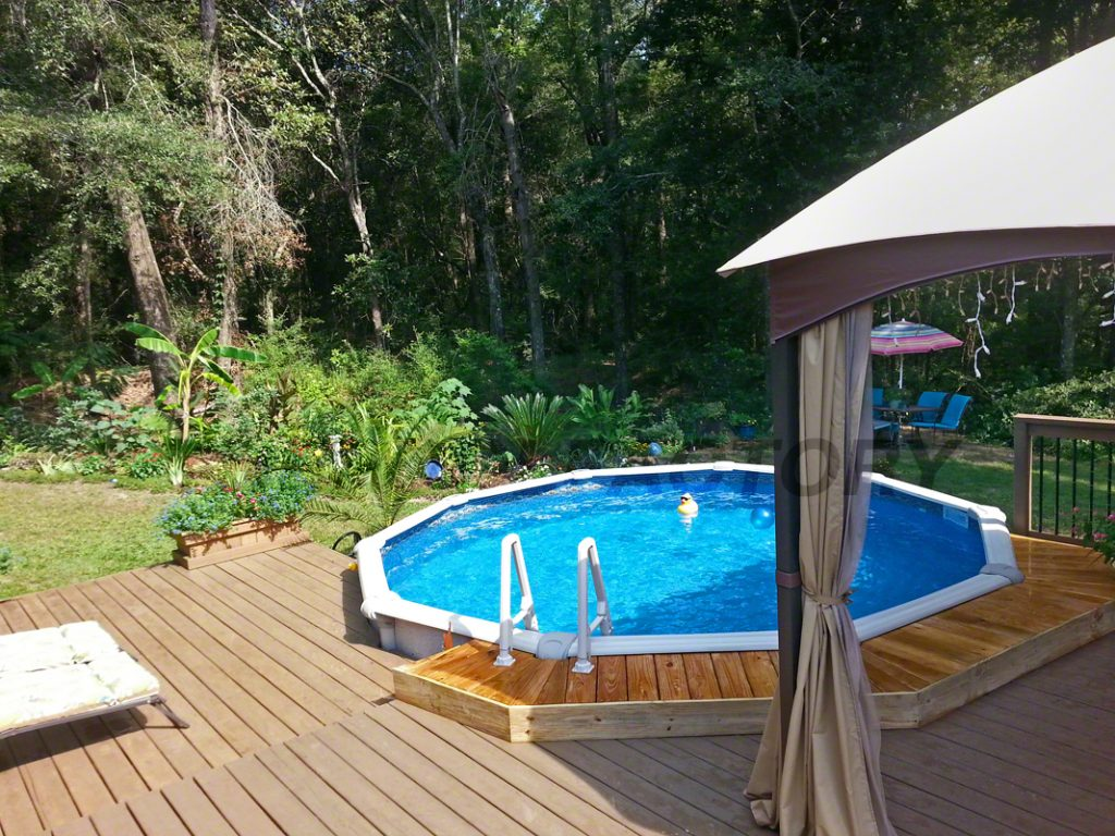 Pool deck ideas partial deck the pool factory - Swimming pools with decks above ground ...