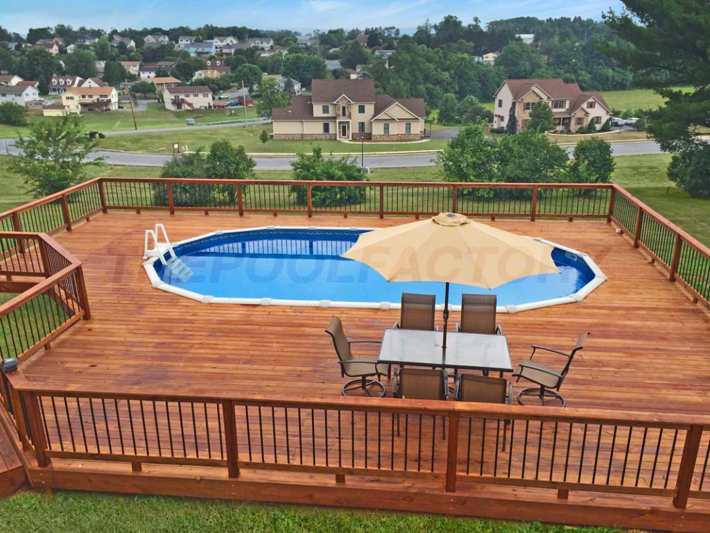Pool deck ideas full deck the pool factory for Top of the line above ground pools