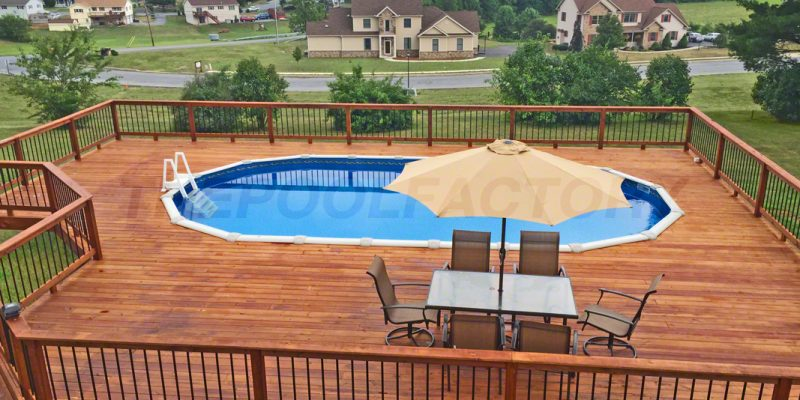 Pool deck ideas full deck the pool factory for Above ground pool decks photos