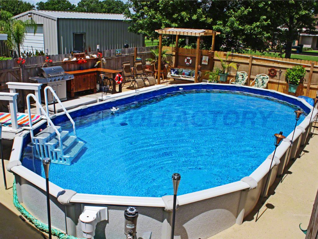 Semi inground pool photos the pool factory - Custom above ground pool ...