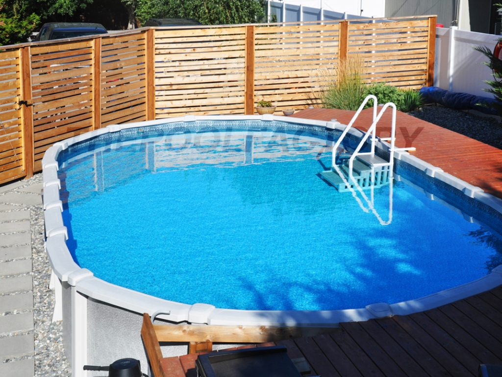 Pool deck ideas partial deck the pool factory for Above ground pool decks oklahoma city