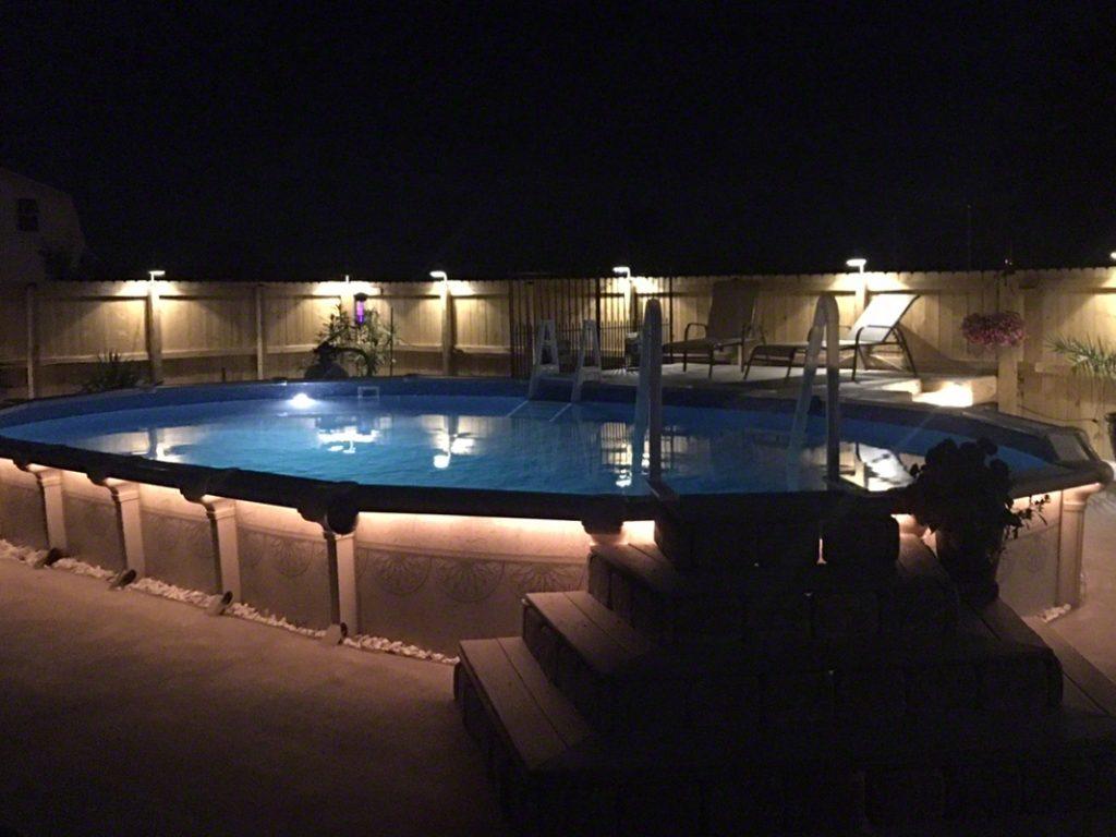 Inground Pools At Night semi inground pool photos - the pool factory