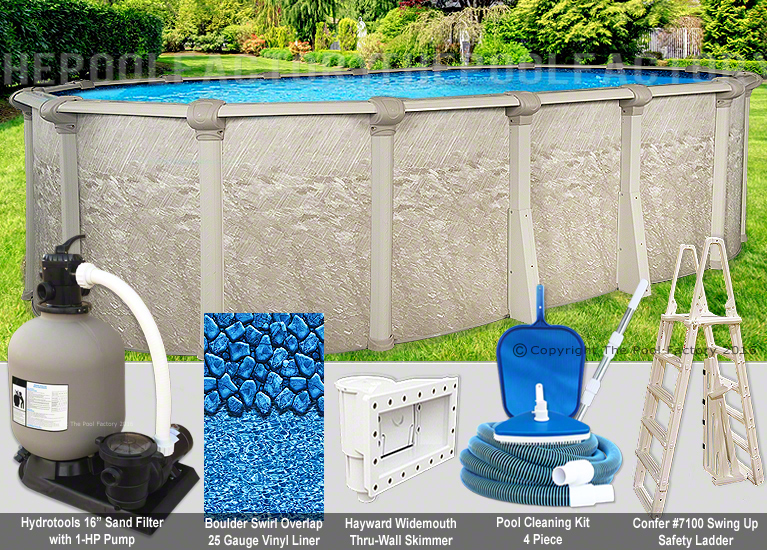 8x12 Oval 52 High Above Ground Swimming Pool Package Space Saving Design Ebay