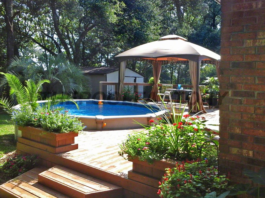 Pool deck ideas partial deck the pool factory - Backyard above ground pool ideas ...